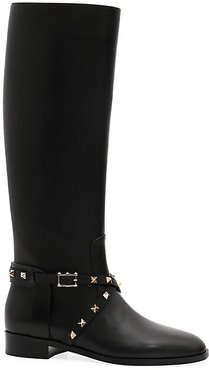 Garavani Rockstud Leather Riding Boots - Black - Size 37 (7)