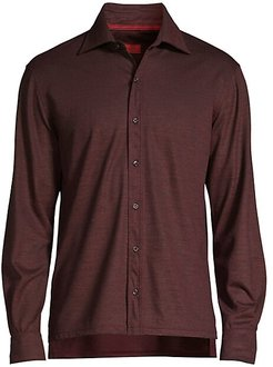 Classic-Fit Long-Sleeve Cotton Shirt - Dark Purple