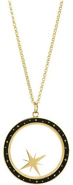 Constellation 14K Gold & Champleve Enamel Compass Shaker Pendant Necklace - Gold