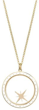 Champlevé 14K Yellow Gold & White Enamel Compass Shaker Pendant Necklace - Gold