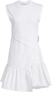 Wrap-Effect Belted Tee Dress - Optic White - Size 10