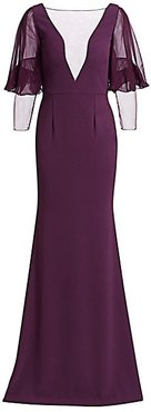 Chiffon Netted Crepe Mermaid Gown - Plum - Size 12