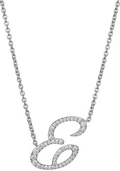 Sterling Silver & Cubic Zirconia Pave Initial Necklace - Letter E