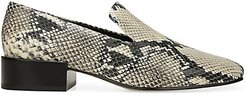 Baudelaire Square-Toe Snakeskin-Embossed Leather Loafers - Size 5.5