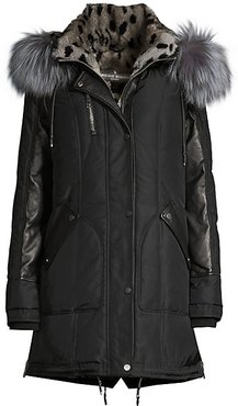 Chelsea Rabbit & Fox Fur Down Parka Coat - Black Cheetah Silver - Size Small