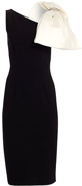 Sleeveless Bow Crepe Sheath Dress - Jet