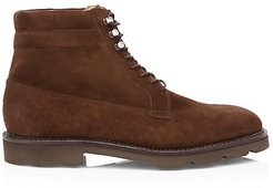Alder Lace-Up Suede Derby Boots - Dark Brown - Size 9.5