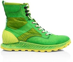 Garment Dye Lace-Up Leather Ankle Boots - Pistacchio - Size 45 (12)