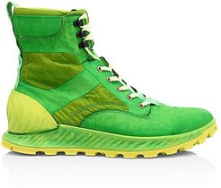 Garment Dye Lace-Up Leather Ankle Boots - Pistacchio - Size 46 (13)