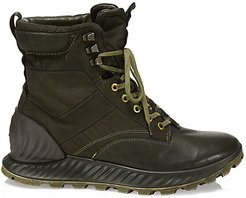 Garment Dye Lace-Up Leather Ankle Boots - Verde Olivia - Size 41 (8)