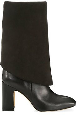 Lucinda Tall Leather Boots - Black - Size 5.5