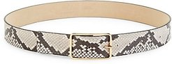 Milla Python-Embossed Leather Belt - White Gold (XS)