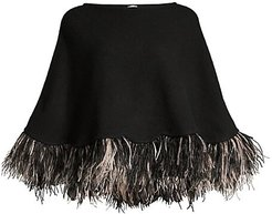 Feather-Trim Cashmere Poncho - Black
