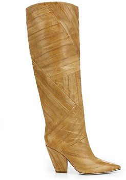 Lila Patchwork Eel Leather Knee-High Boots - Tan - Size 7