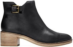 Harrington Grand Buckle Leather Ankle Boots - Black - Size 8.5