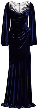 Embellished Ruched Velvet Gown - Sapphire - Size 4