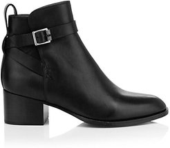 Walker Buckle Leather Ankle Boots - Black - Size 35 (5)