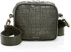 Small Athens Croco-Embossed Crossbody Bag - Olive