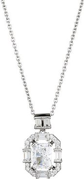 Rhodium-Plated Sterling Silver Cubic Zirconia Cutout Pendant Necklace - Rhodium