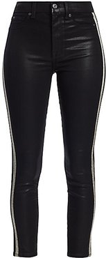 High-Rise Ankle Skinny Coated Glitter Racing Stripe Jeans - Black Coated - Size 28 (6)