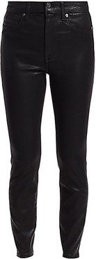 High-Rise Ankle Skinny Coated Jeans - Black Coated - Size 34 (2)