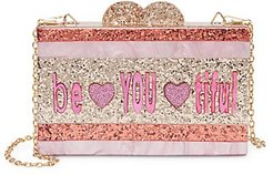 Be You Ti Ful Glitter Acrylic Box Bag - Pink