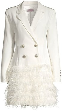 Feather-Hem Tuxedo Dress - Ivory - Size 0