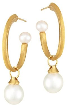 Origami 22K Yellow Goldplated & 6-10MM Freshwater Pearl Charm Hoop Earrings