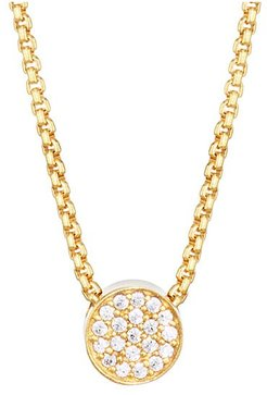 Signature 22K Yellow Goldplated & Cubic Zirconia Pavé Pendant Necklace