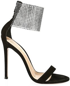 Crystal Beaded Cuff Suede Sandals - Black - Size 37.5 (7.5)