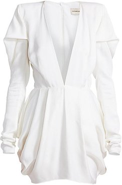 Pleated Shoulder Deep V-Neck Mini Dress - White - Size 38 (6)