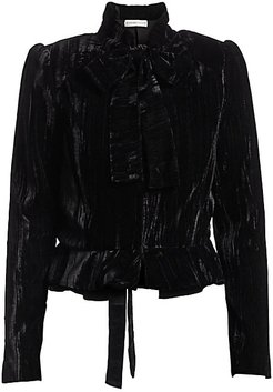 Velvet Puff-Sleeve Blouse - Jet - Size Large