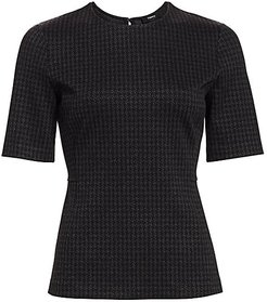 Houndstooth-Print Short-Sleeve Tee