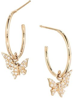 14K Yellow Gold & Diamond Hanging Butterfly Huggie Hoops - Gold