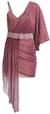 Ombre Lurex Asymmetrical Belted Mini Dress - Light Orchid - Size 4