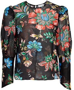 The Georgie Floral Silk Chiffon Top - Library Print - Size 6