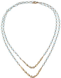 18K Rose Gold & Blue Topaz Beaded Double-Strand Long Necklace - Rose Gold