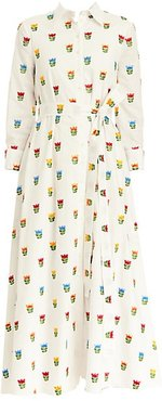 Embroidered Floral Belted Shirtdress - White Multi - Size 6