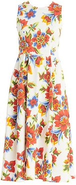 Sleeveless Floral A-Line Dress - White Multi - Size 16
