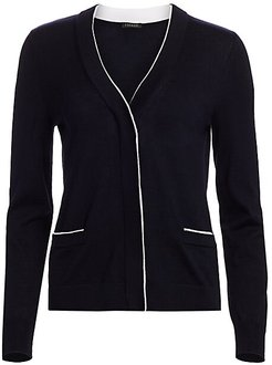 Stare Contrast Trim Cardigan - Navy - Size Small