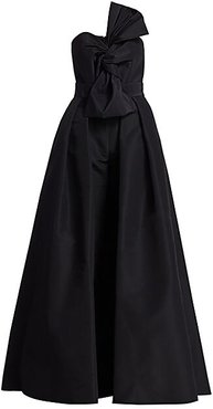 Silk Faille Twisted Bow Jumpsuit with Convertible Skirt - Black