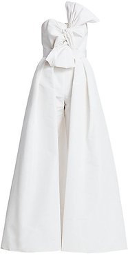 Silk Faille Twisted Bow Jumpsuit with Convertible Skirt - White