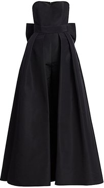Silk Faille Bow-Back Jumpsuit with Convertible Skirt - Black