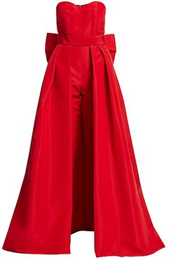 Silk Faille Bow-Back Jumpsuit with Convertible Skirt - Red