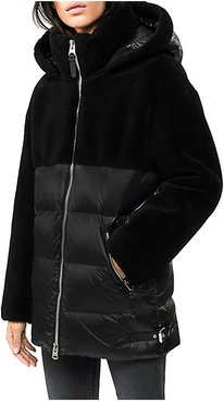 Junia Faux-Fur Wool Down Jacket - Black - Size Medium