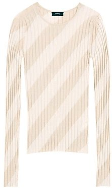 Ribbed Intarsia Diagonal Stripe Pullover - Natural Light Camel