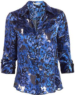 Eloise Floral Burnout Silk Blouse - Floral Dream Azure - Size XS