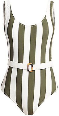 The Anne-Marie Belted Swimsuit - Safari Stripe - Size XS