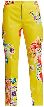 Carlina Floral Chino Pants - Yellow - Size 2