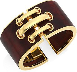 Woodworks 18K Yellow Gold & Cocobolo Shoelace Cuff Bracelet - Yellow Gold